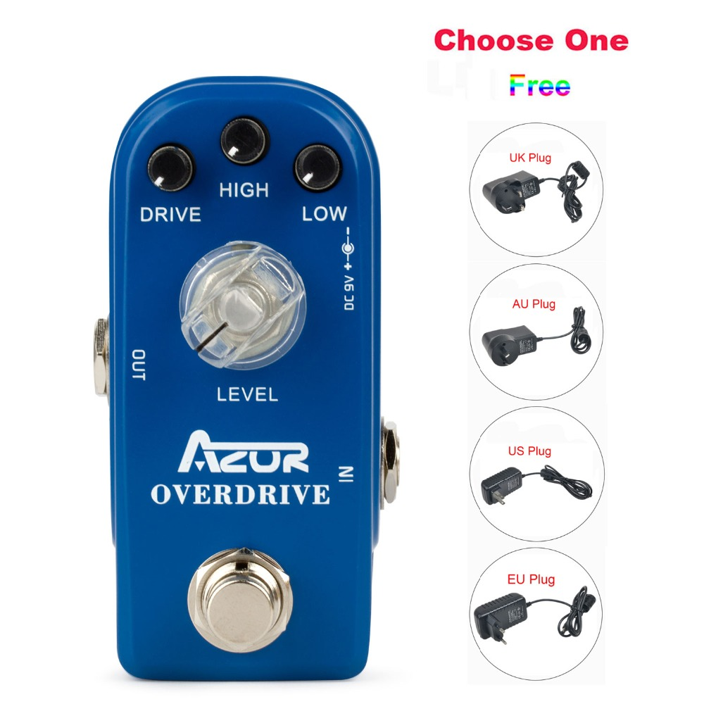 AP-308 Overdrive Mini Guitar Effect Pedal Blue with Ture Bypass 9V1A Adapter and 8 Heads Multi-interface Effect Connecting Cable mooer ensemble queen bass chorus effect pedal mini guitar effects true bypass with free connector and footswitch topper