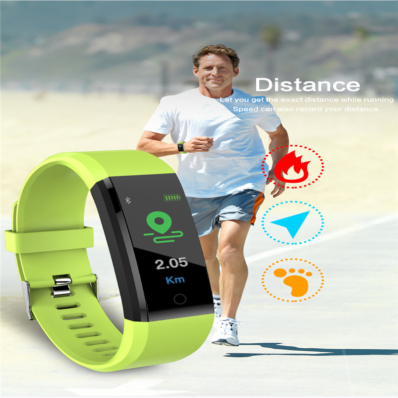 Smart Fitness Pedometer Watch Waterproof Bluetooth Heart Rate Monitor Sport Running Pedometer For IOS Andriod Fitness Watch