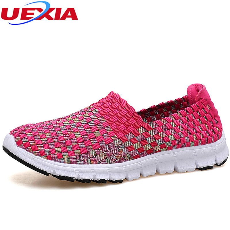 UEXIA Women Shoes Summer Flats Female Loafers Women Casual Flats Woven Shoes Sneakers Lightweight Slip On Colorful Shoe Mujer