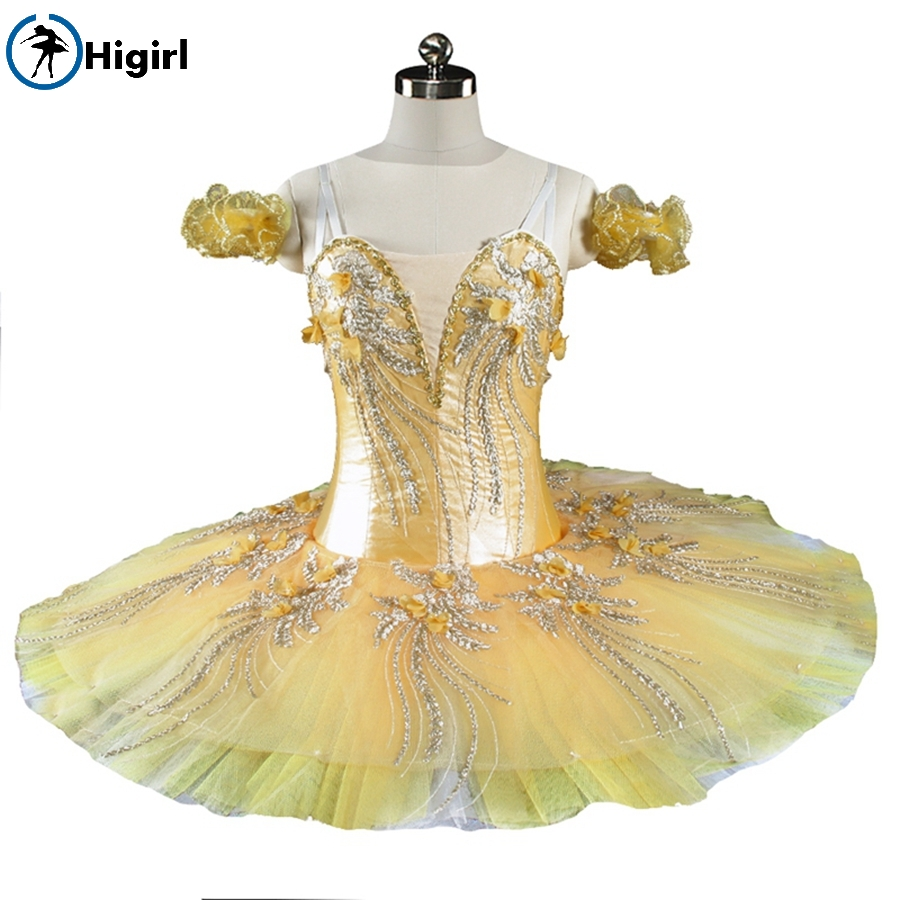 Yellow Ballerina Competition Professional Ballet Stage Costum Canary Fairy Professional Ballet Tutu Adult Platter BT9164