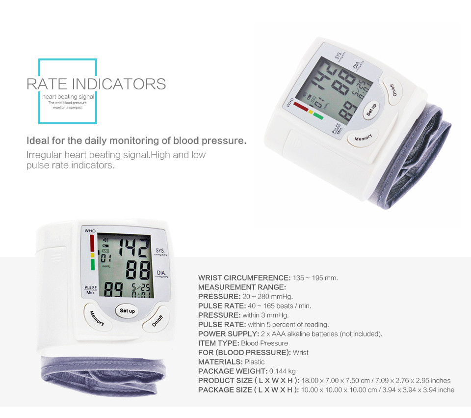 Professional Health Care Wrist Portable Digital Automatic Blood Pressure Monitor Household Type Protect Health2 16