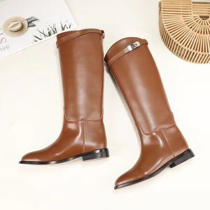 Image 2 - MStacchi Designer Genuine Leather Long Boots Sexy Woman Motorcycle Booties Belt Strap Metal Shark Lock flat heel Knee High Boots