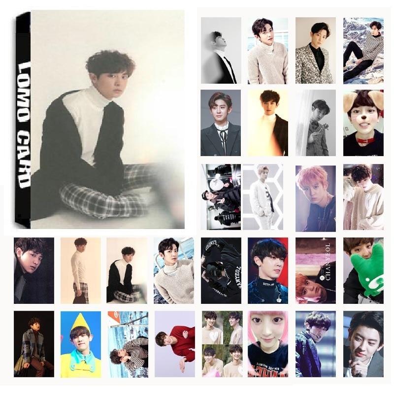 New 30Pcs/set KPOP EXO CHANYEOL Single 04 For Life Album HD Photo Card PVC Cards Self Made LOMO Card Photocard