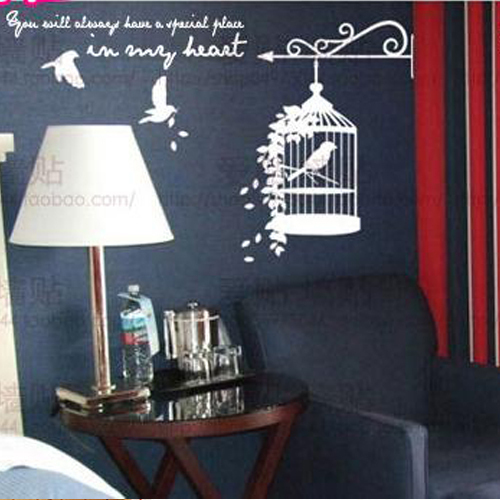 Free Shipping Fly Bird Cage Living Room Bedroom Decor Mural Art Vinyl Wall Sticker Home Decoration Decal OW613
