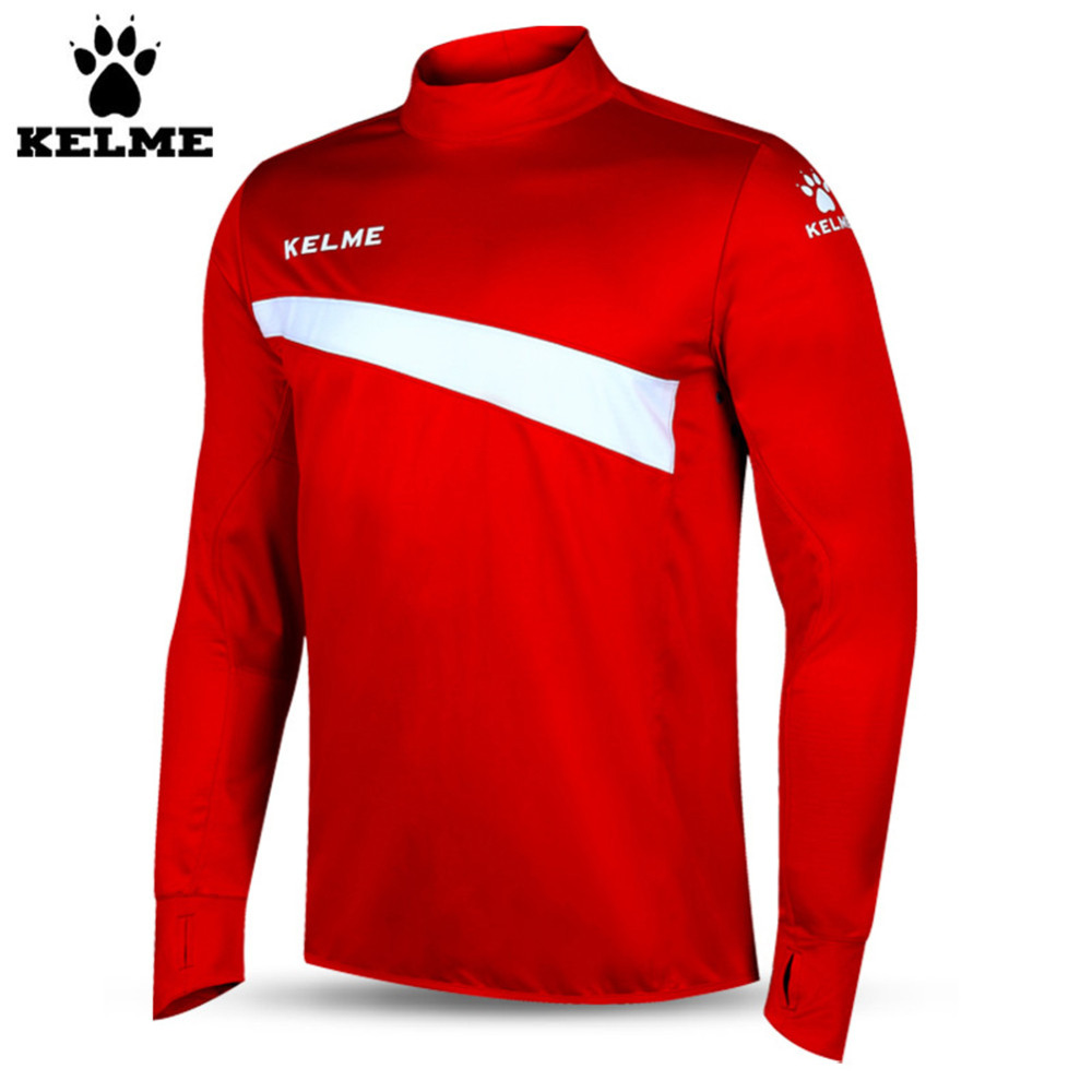 Kelme K15Z304 Men Soccer Jerseys Polyester Stand Collar Sharkskin Training Long-sleeved Pullover Red White цена 2017