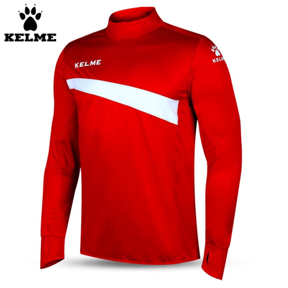 Kelme K15Z304 Men Soccer Jerseys Polyester Stand Collar Sharkskin Training Long-sleeved Pullover Red White kelme k15p010 men outdoor winter medium long stand collar hooded zipper down jacket navy red