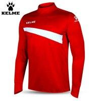 Kelme K15Z304 Men Soccer Jerseys Polyester Stand Collar Sharkskin Training Long sleeved Pullover Red White