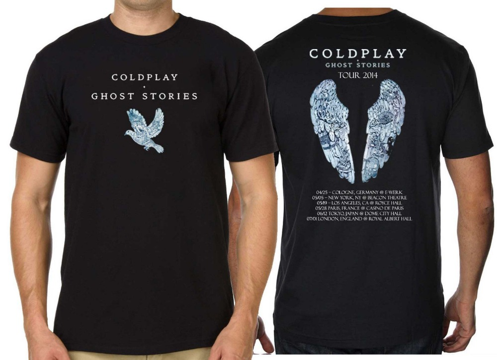 World Tour Coldplay T-shirt Ghost Stories Mens Cotton Short Sleeve T Shirts Tees Tops