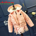 New Design Winter Baby Girls Thick Warm Down Coat Hooded Collar Hem Skirt Decoration Child Clothes Suit for 1-5 Ages Kids Girls