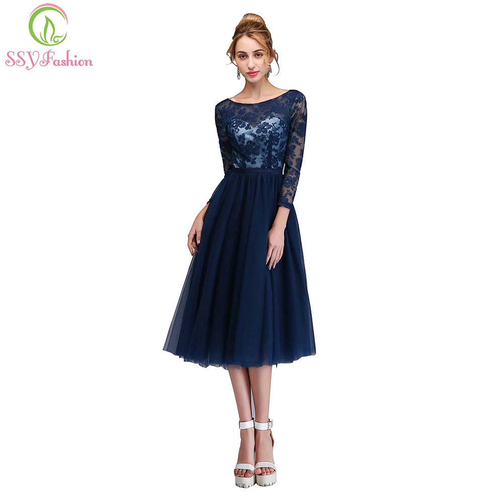 SSYFashion New Banquet Elegant Cocktail Dresses Navy Blue Lace Embroidery Long Sleeved Backless Party Gown Formal Dresses cocktail dress