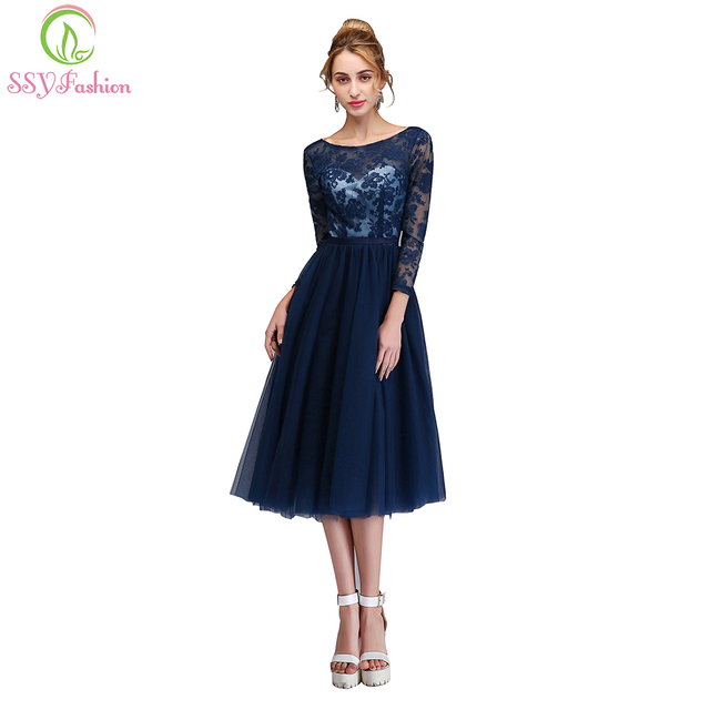 cfb8be4eeb75 SSYFashion New Banquet Elegant Cocktail Dresses Navy Blue Lace Embroidery  Long Sleeved Backless Party Gown Formal