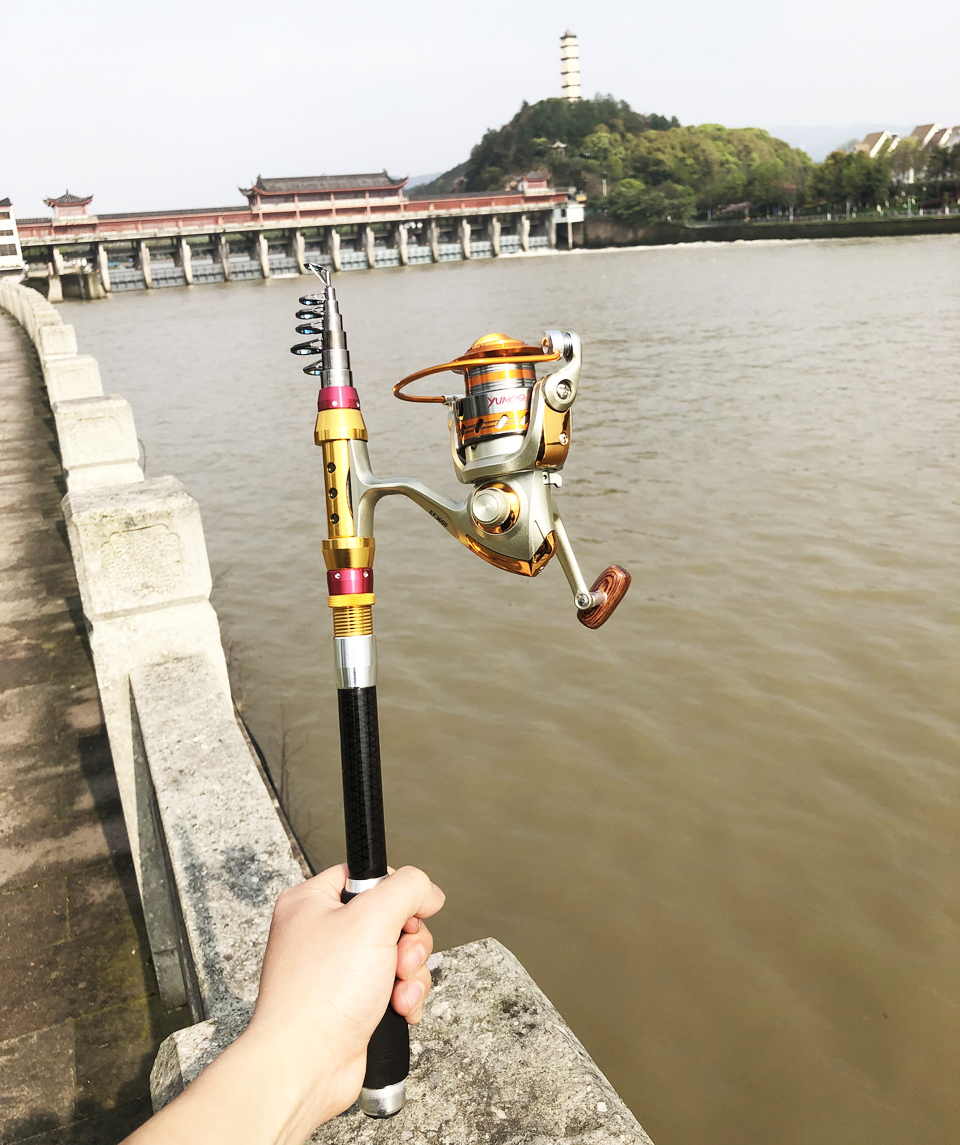 Image 5 - ultralight protable carbon spinning fishing rod hard short travel telescopic rod boat rock stick pesca pole seafishing 1.8 3.6m-in Fishing Rods from Sports & Entertainment