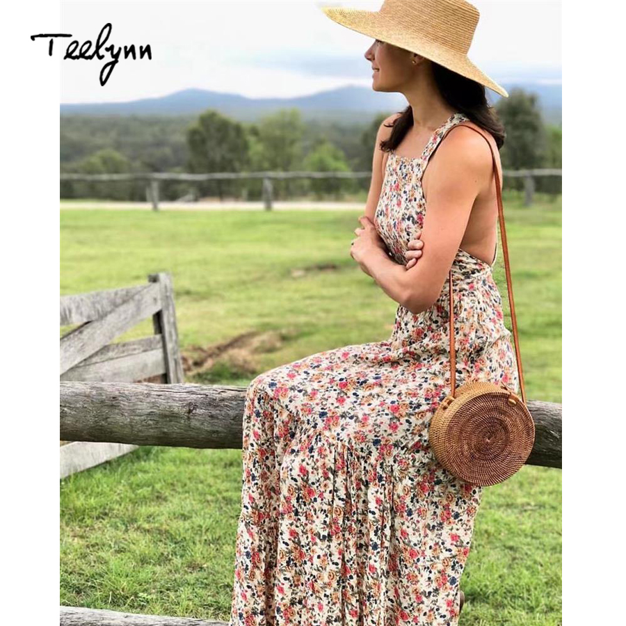 0969304915d4 TEELYNN Sleeveless boho long dress 2018 Floral print pinafore dress strap  sexy backless summer dresses beach Hippie women dress