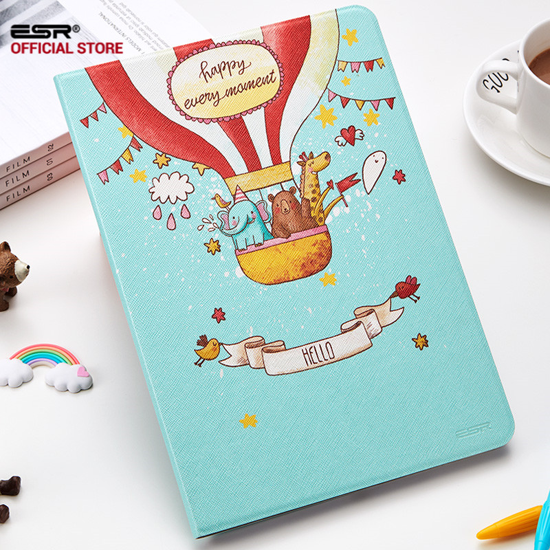 все цены на ESR Eaglet Balloon Paris Painted Flip PU Leather for IPad Air 2 Case for Apple IPad Air 2 IPad 6 Smart Case Cover Shell