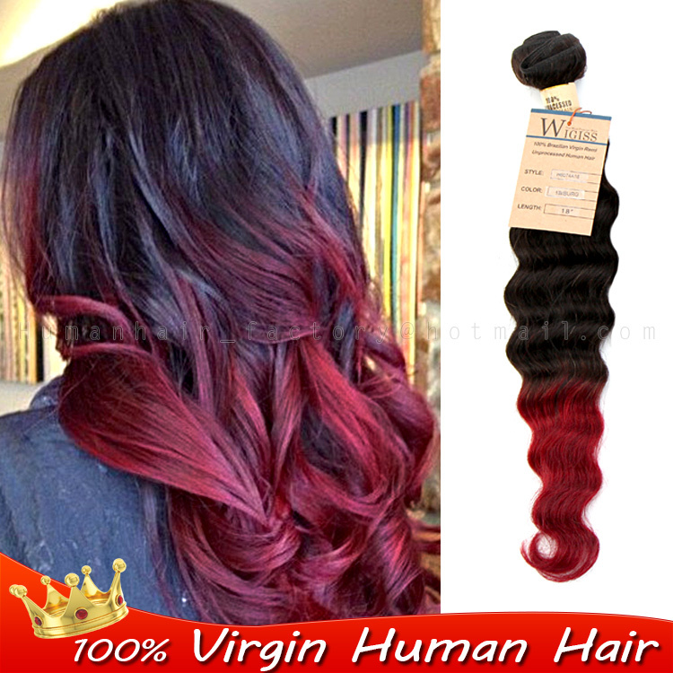 Ombre Human Real Hair Extensions Brazilian V Irgin Hair Loose Wave