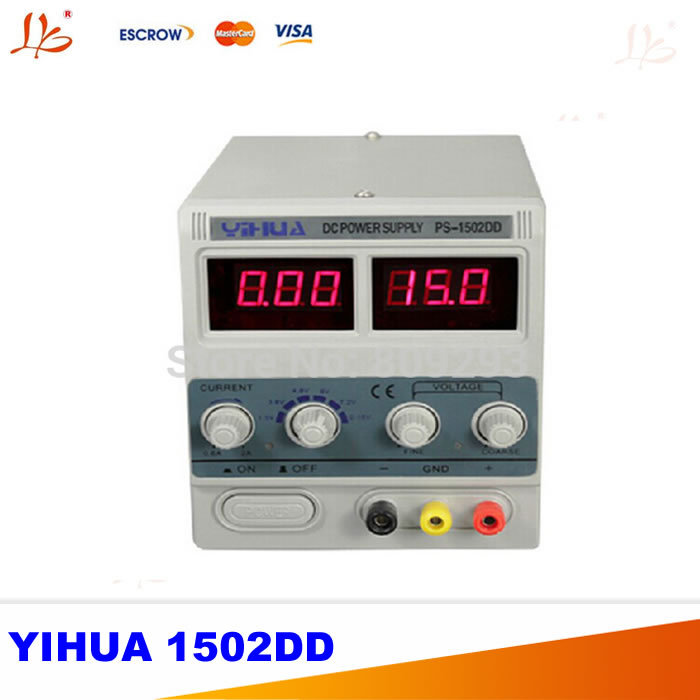 220V YIHUA 1502DD 15V 2A Adjustable DC Power Supply LED Display Mobile phone repair power test regulated power supply multifunctional dc voltage regulator stabilizer cable wire power supply interface cable line mobile phone repair tools usb