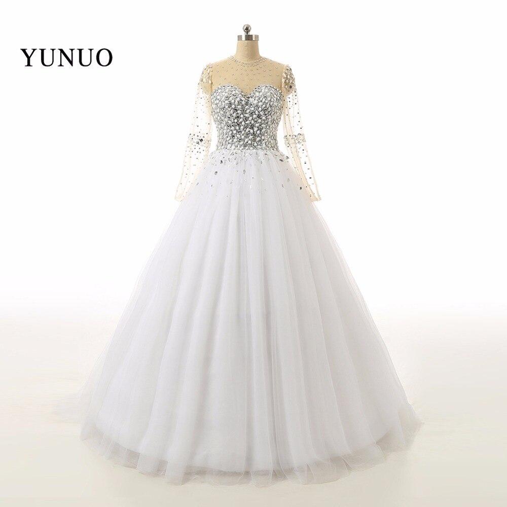 Belle Blanc Robe De Mariée 2018 robes de noiva Nouvelle Longue Manches De Mariée Robes Strass Perles Cristaux x0525