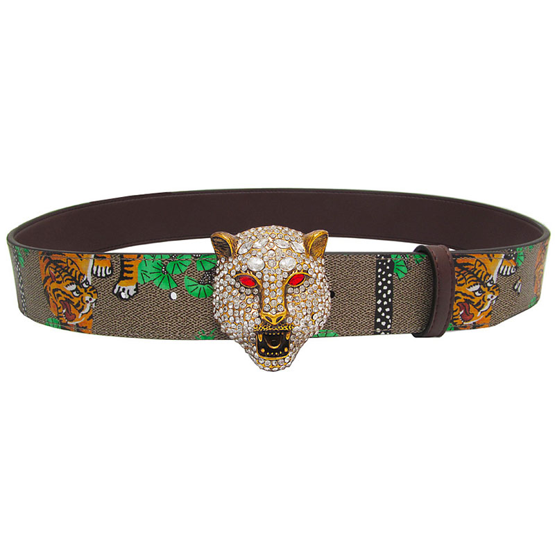 17fd5eb147 US $18.36 49% OFF|Western Rhinestone Leopard Head Buckle Tiger Print  Leather Men Belt Gift With Jeans-in Men's Belts from Apparel Accessories on  ...