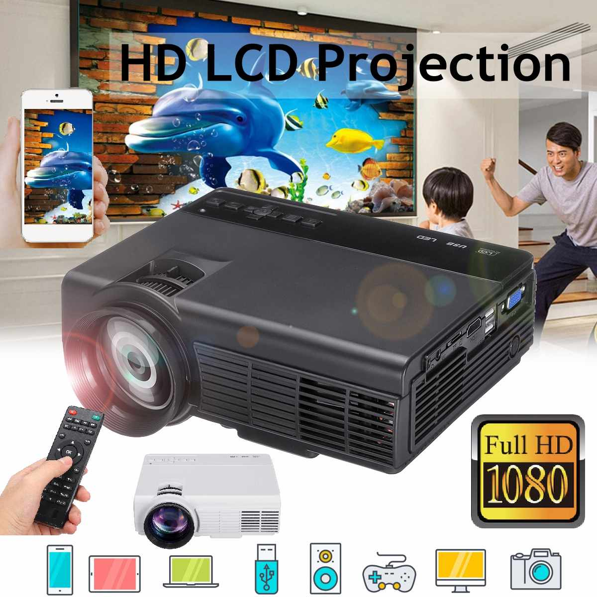 LEORY New Mini Projector Full 800x480 support 1080P 3D HD LED Projector Multimedia Home Theater USB TV Home Theatre System