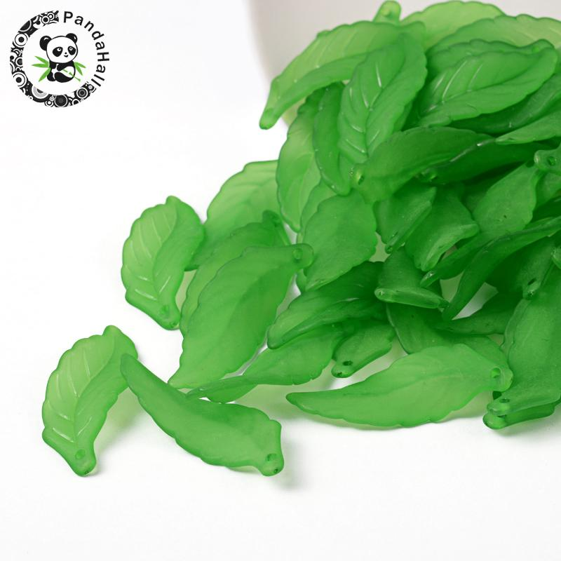 green transparent frosted acrylic leaf pendants for snap necklace jewelry, size: about