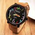 YAZOLE Brand 347 Lovers PU Leather Strap Quartz Watch Rainbow Pencil All-match Big Dial Wristwatches 2016 New Free Shipping