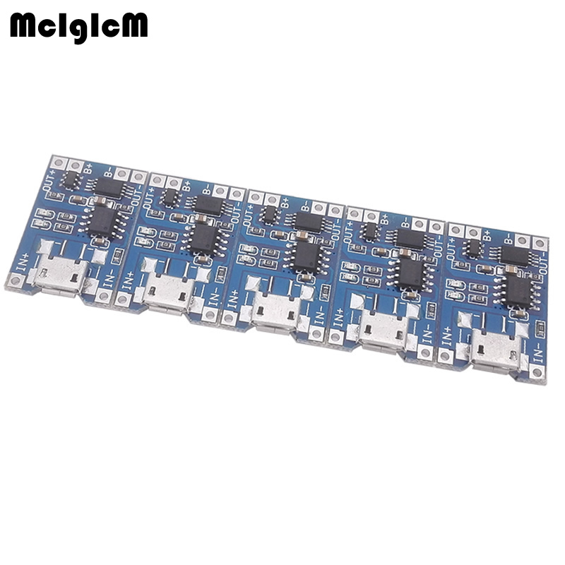 5 Pcs Micro USB 5V 1A 18650 TP4056 Lithium Battery Charger Module Charging Board With Protection