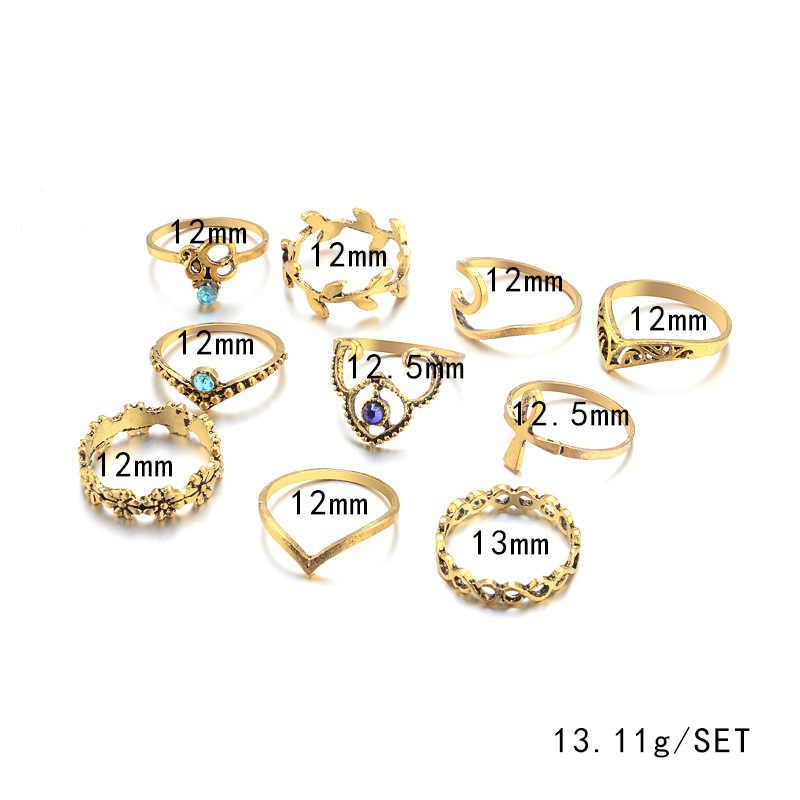 10ชิ้น/เซ็ตวินเทจสีเงินแหวนชุดโบราณแหวนนิ้วสั้นสำหรับผู้หญิงSteampunkตุรกีพรรคBoho K Nuckleแหวน