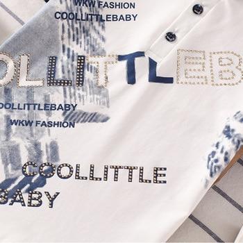 Camisa para niños con estampado de Letras a la moda, camisetas de manga corta con cuello doblado para bebés con perforación en caliente, camisetas para niños grandes