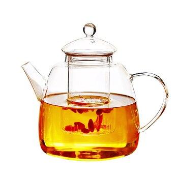 GFHGSD, 1200 мл, горячая Распродажа, цветочный чайник с ручкой, набор, жаростойкий стеклянный чайник, теплее, набор посуды для напитков, большой ем...