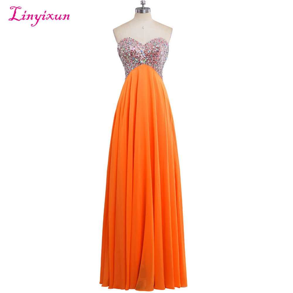 Linyixun Real Photo New Sexy Chiffon Long   Prom     Dresses   2017 With Crystal Sweetheart Sleeveless Lace up Evening Party Gown