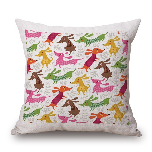 Cute Dachshund Cotton Pillow Covers