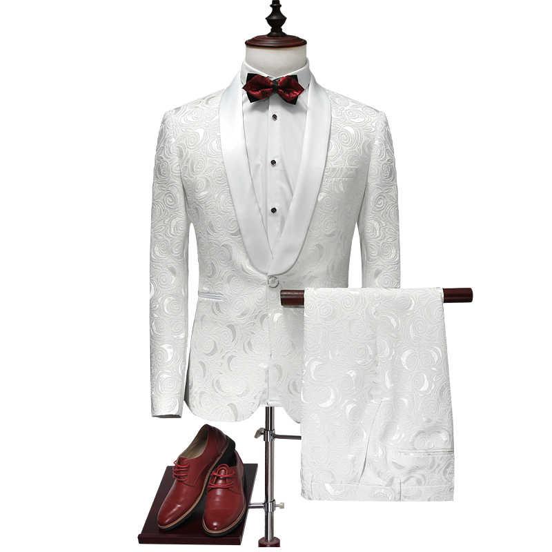 2018 新白人男性スーツ SML XL 2XL 3XL 4XL ジャカード生地ビジネス結婚式禁止男のロングスリーブのスーツのジャケットとパンツ