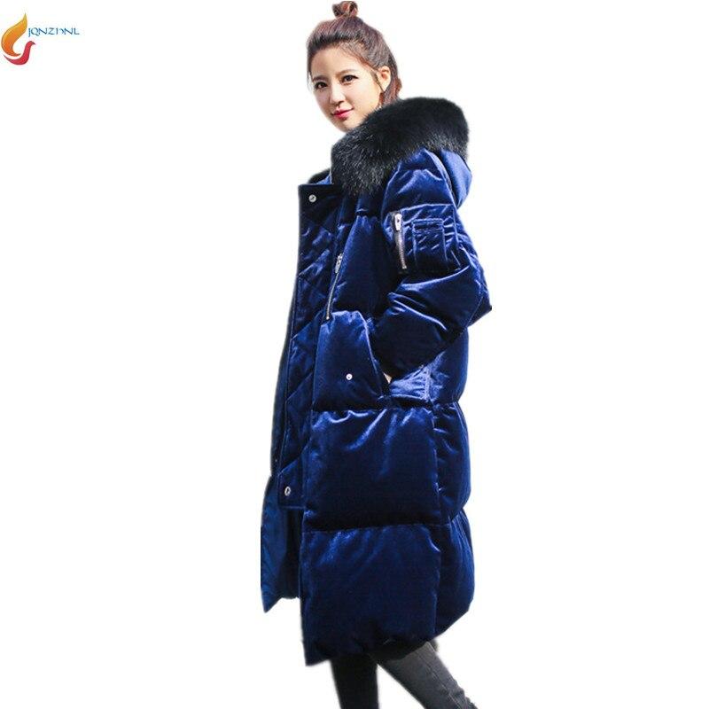 Winter Women Cotton clothing Coat 2017 New Women Gold velvet fashion Hooded thicke jacket medium long large size coatAD44JQNZHNL