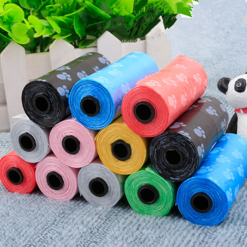 15pcs/roll Pet Printing Waste <font><b>Bags</b></font> for Dog Cat Pick Up Waste <font><b>Poop</b></font> <font><b>Bag</b></font> Clean Up Rubbish <font><b>Bag</b></font> <font><b>Baby</b></font> Diaper Garbage <font><b>Bag</b></font> Pet Supplies image