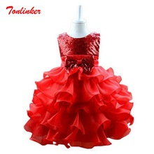 Girls Princess Dress Kids Sequin Bow-Knot Tutu Cake Dress for Party Wedding Young Girls sleeveless Wave Dress Prom Clothes стоимость
