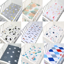 130cm*70cm 100% Cotton Crib Fitted Sheets Soft Baby Bed Mattress Covers Printed Newborn Infant Bedding Set Kids Mini Cot Sheet(China)