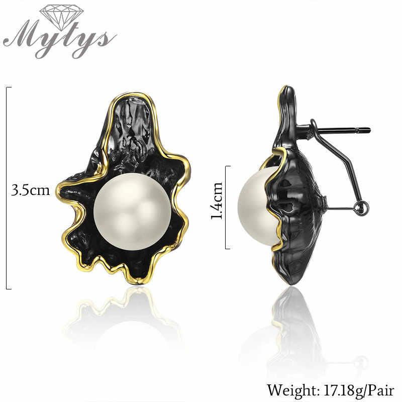 Mytys grande perle pistolet noir ensembles de bijoux boucles d'oreilles collier ensembles perle feuille conception or fil cadres Vintage Noble bijoux CN514