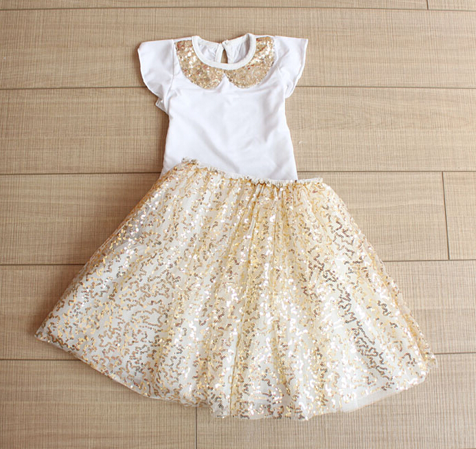 2015 New Summer Baby Girls Sequined Dress SetsCotton Collar T Shirt Mesh Tutu Skirts Pink Silver Gold 5 Sets Lot In Clothing From Mother