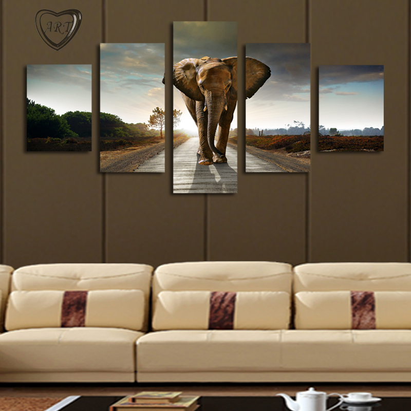 canvas living room aliexpress buy 5 pcs no frame elephant painting 11238
