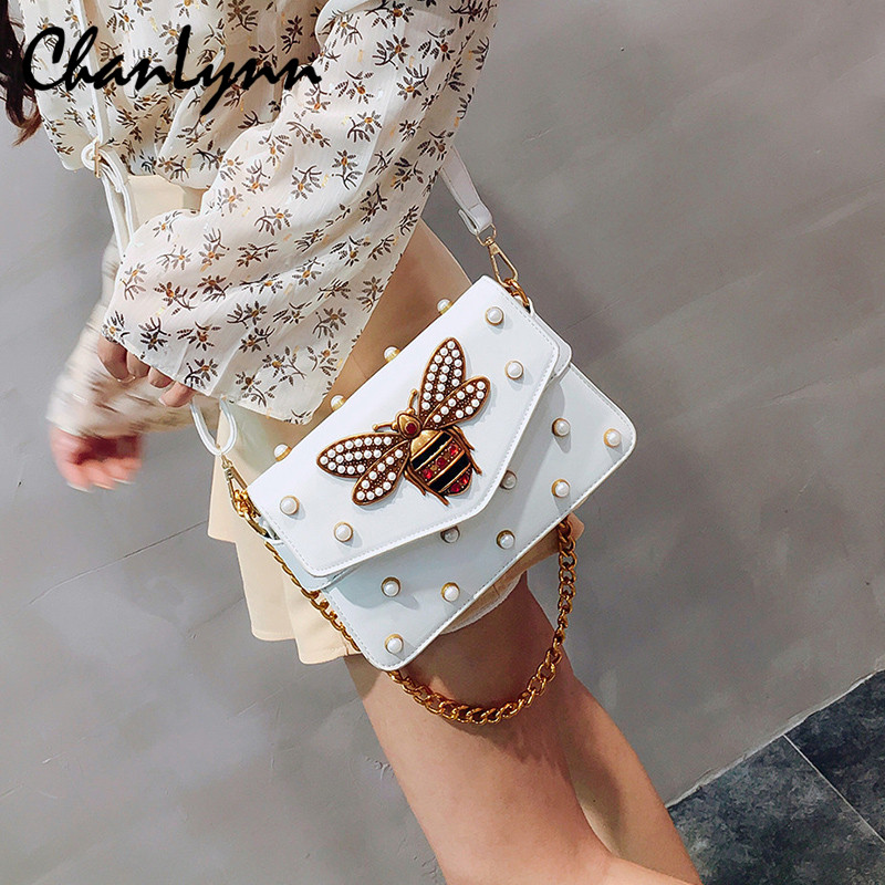 Luxury Brand Shoulder Bags For Women 2018 Designer Bee Bags Rivet Pearl PU Leather Handbag Messenger Bag Female Sac Femme GG women designer leather smiley trapeze handbag luxury lady smiling face purse shoulder bag girl crossbody bag sac femme neverfull