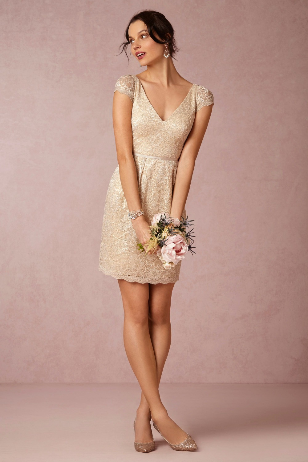 ff7691ce532 Fashion Knee Length V Back champagne sequined Lace Bridesmaid Dresses sexy wedding  guest dresses vestido de festa curto BMD05-in Bridesmaid Dresses from ...