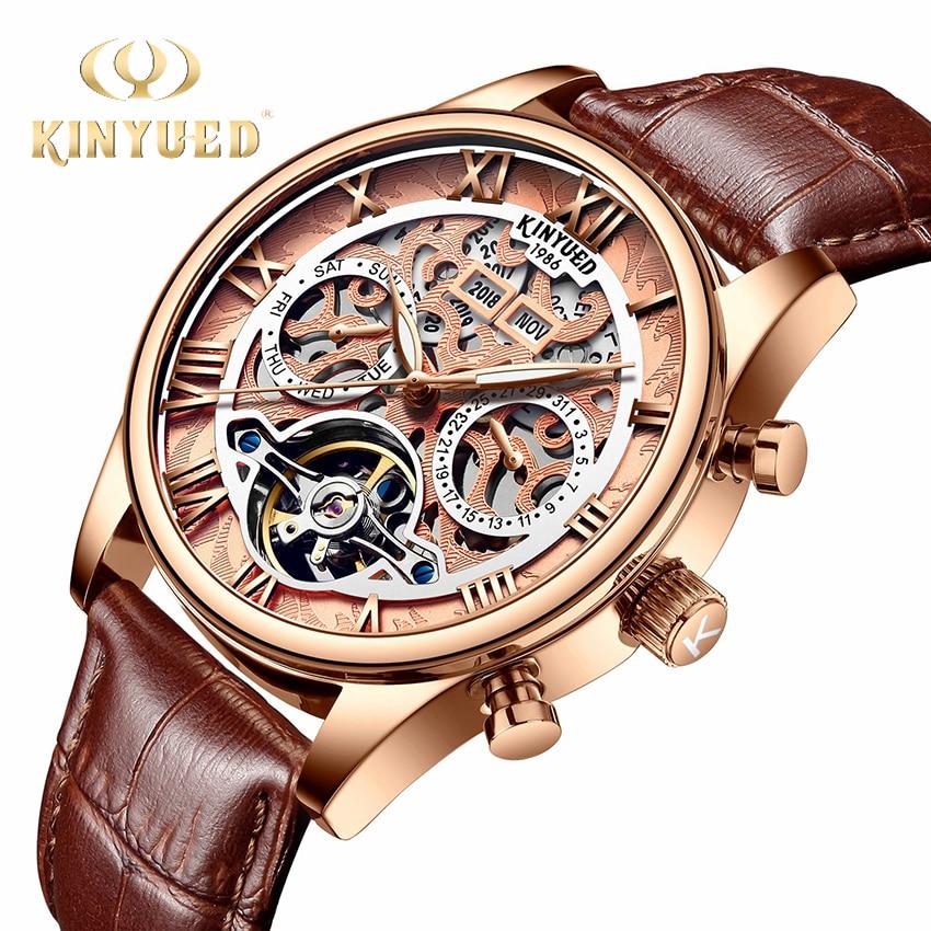 KINYUED Perpetual Calendar Skeleton Watch Men Top Luxury Brand Automatic Mechanical Watches Man Sport Waterproof horloges mannen