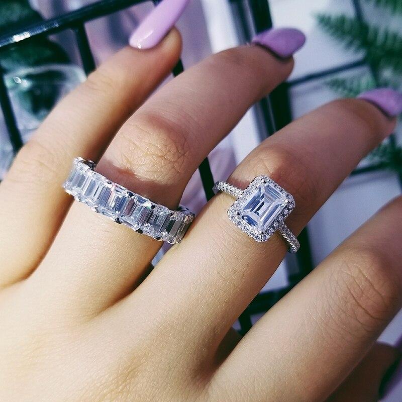 Moonso argent Sterling 925 anneaux pour femmes 2 Ct anneaux 2 pièces princesse coupe mariage fiançailles bijoux ensemble d'anneaux R4633S