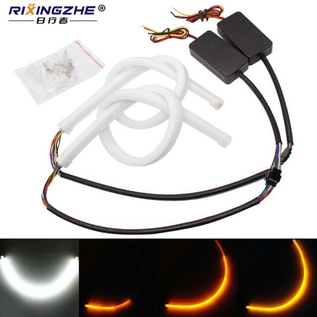 car 30/45/60cm Flexible Flowing Car DRL Running Turn Signal angel eye White Amber LED Daytime Running Light Headlight Strip led