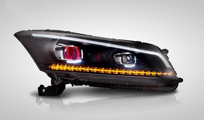 Красный дьявольский глаз головной светильник s для Honda Accord HID Ксеноновые фары в сборе светодиодный DRL светильник с последовательным индикато