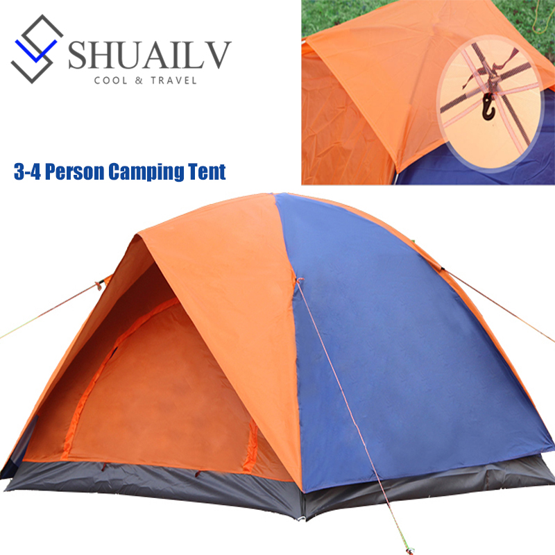 Windproof Outdoor Sports Tourist Tents 3-4 Person Travel Waterproof Tent Spring Two-Layer Camping Sleeping Tent With Fiberglass waterproof tourist tents 2 person outdoor camping equipment double layer dome aluminum pole camping tent with snow skirt