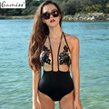 Gamiss HOT Sale Sexy Halter Floral Lace-up Bathing Suit Mesh Perspective Lace Patchwork Hollow Out Backless Swimwear for Women