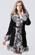 New 2016 Fashion Women's Genuine Fox Fur Collar with Pig Leather Long Coat Jacket Autumn Winter Female Natural Fur Coats Trench