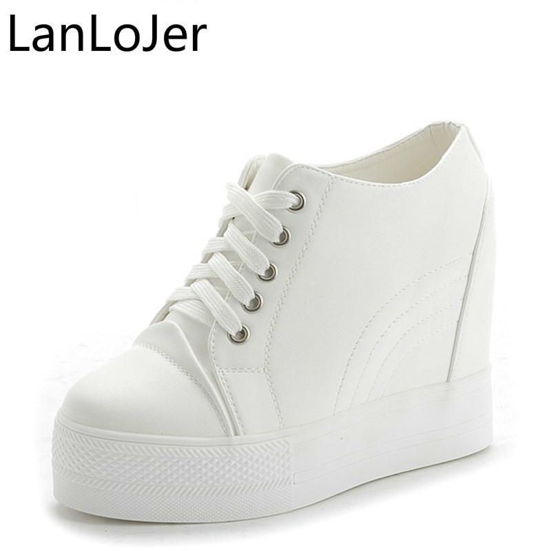 LanLoJer 2018 Hot Sale New Wedge Shoes Hidden Heels Womens Elevator Casual For Women High Quality 11cm Heels Black White Shoes