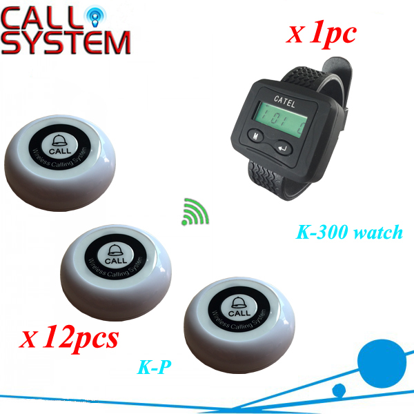CE Wireless watch pager calling system wrist receiver K-300 work with 12pcs single key service buzzer service call bell pager system 4pcs of wrist watch receiver and 20pcs table buzzer button with single key